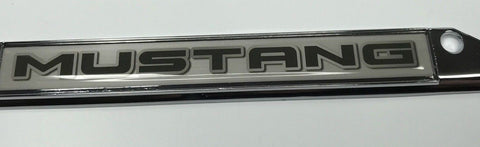 Image of Ford Mustang License Plate Frame - Chrome with Black Script (Top)