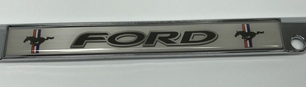 Ford Mustang License Plate Frame - Chrome with Black Script (Logo)