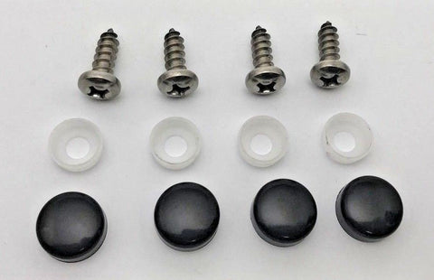 License Plate Frame Screws with Black Caps - Anti Theft (Main)