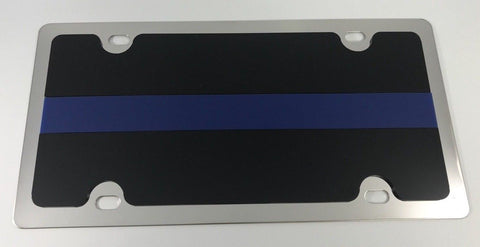 Police License Plate - Chrome with Blue Line (Main)