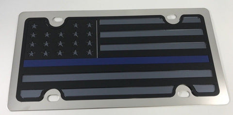 Image of American Flag License Plate - Chrome with Police Blue Line (Main)