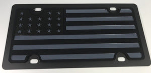 American Flag License Plate - Black with Chrome (Main)