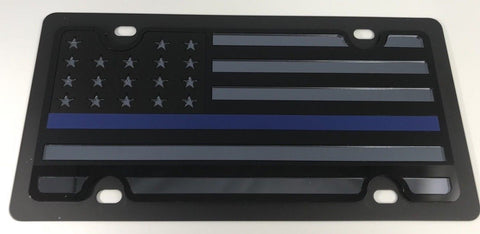 American Flag License Plate - Blacked Out Police (Main)