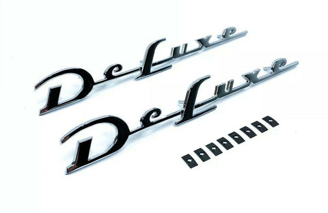 Pair Quarter Panel Script Emblems For 1952 Full Size Chevy Deluxe Car-Live Fast Supply Company