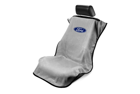 Ford Seat Cover - Gray with Blue Oval Ford Emblem - Main