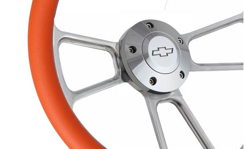 "14"" Polished Billet Aluminum Steering Wheel - Aftermarket Half Wrap - Muscle Style"