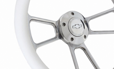 "14"" Polished Billet Aluminum Steering Wheel - Aftermarket Half Wrap - Muscle Style-Live Fast Supply Company"