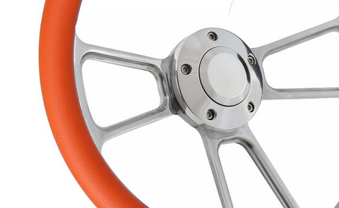 "Image of 14"" Polished Billet Aluminum Steering Wheel - Aftermarket Half Wrap - Muscle Style"