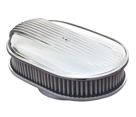 "Image of 12"" Oval Polished Fading Finned Air Cleaner - ""The Comet"" (Top)"