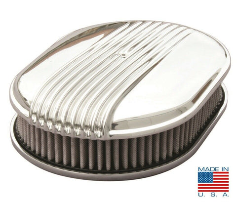 "12"" Oval Polished Fading Finned Air Cleaner - ""The Comet"" (Main)"