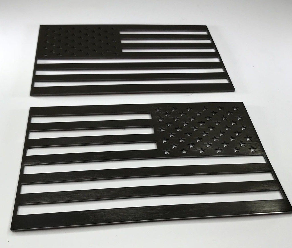 Pair of Stainless Steel American Flag Emblems - Polished - Pair