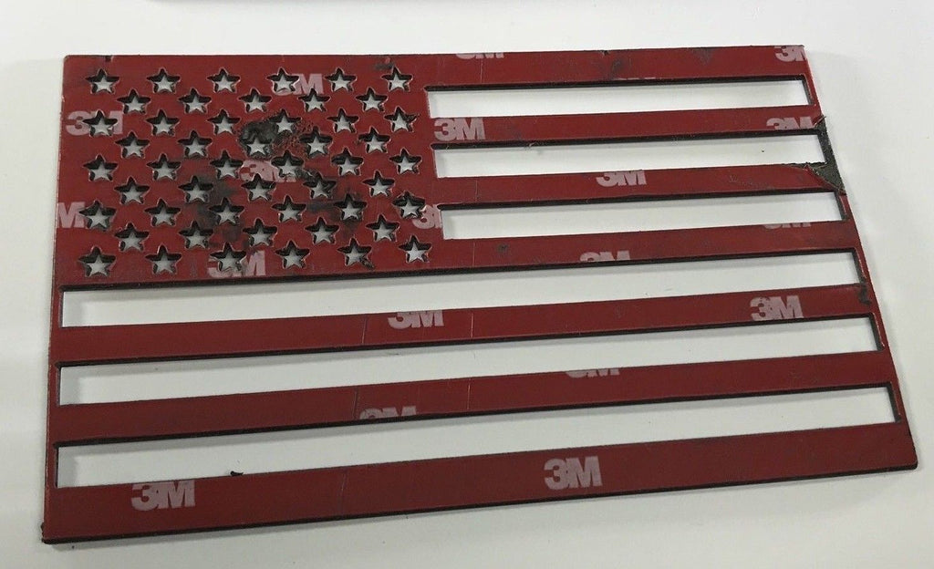 Pair of Stainless Steel American Flag Emblems - Polished - Front