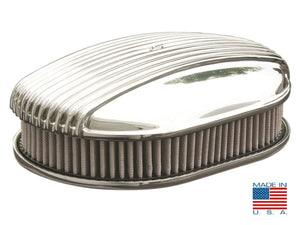 "12"" Oval Polished Fully Finned Air Cleaner - ""Razorback"" (Main)"