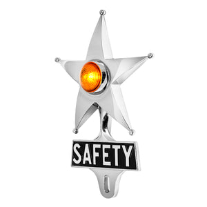 Safety Star License Plate Topper Orange with LED (On)