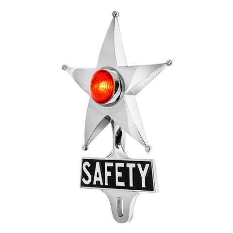 Safety Star License Plate Topper Red with LED (On)