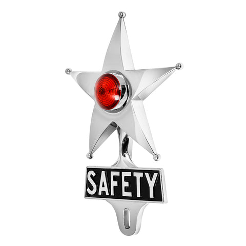 Safety Star License Plate Topper Red with LED (Off)