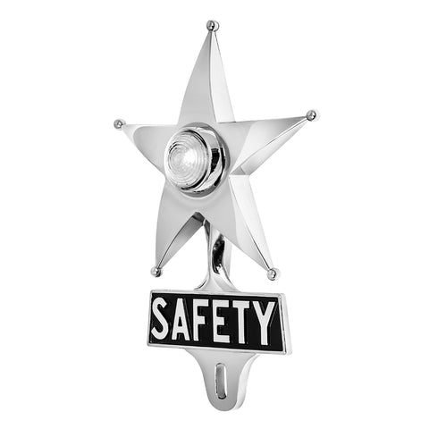 Safety Star License Plate Topper White with LED (On)