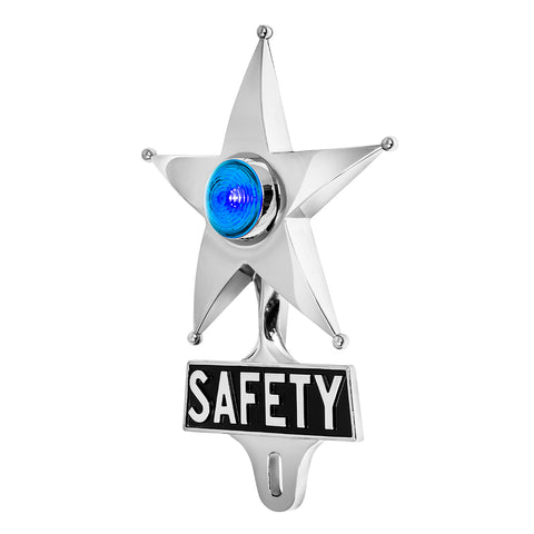 Safety Star License Plate Topper Blue with LED (On)