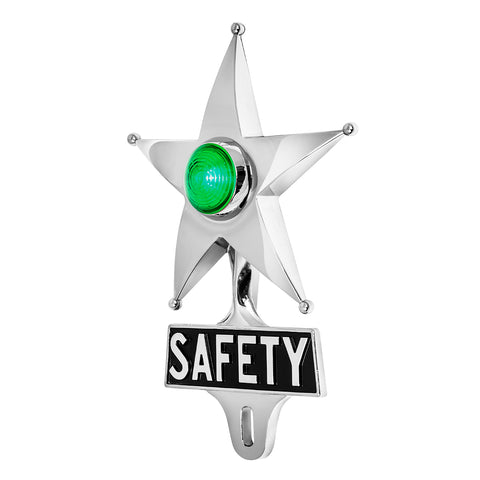 Safety Star License Plate Topper Green with LED (On)