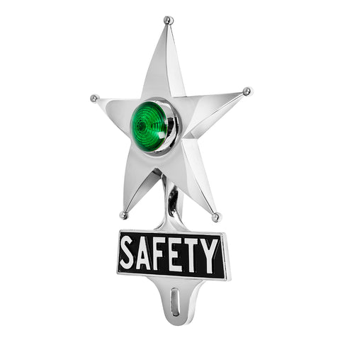 Safety Star License Plate Topper Green with LED (Off)