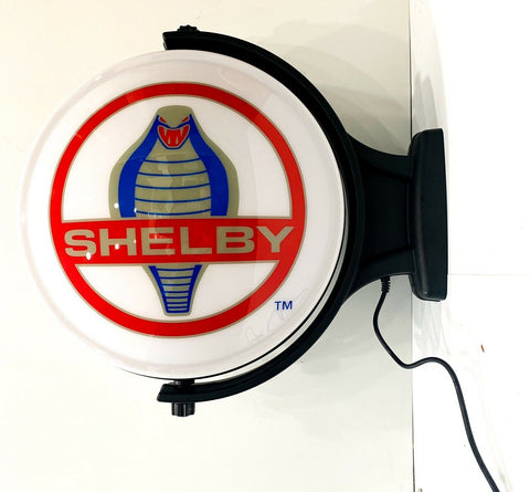 Shelby Cobra Emblem Sign - Revolving Light Up Globe-Live Fast Supply Company
