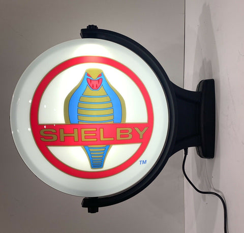 Image of Shelby Cobra Emblem Sign - Revolving Light Up Globe-Live Fast Supply Company