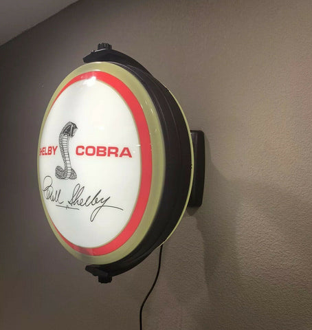Image of Cobra Emblem Carroll Shelby Signature Sign - Light Up Revolving Globe-Live Fast Supply Company