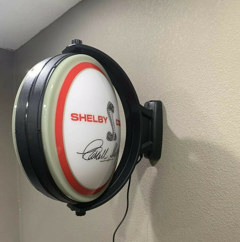 Cobra Emblem Carroll Shelby Signature Sign - Light Up Revolving Globe-Live Fast Supply Company