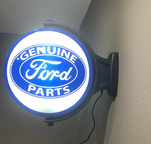 Ford Emblem Genuine Parts Sign - Light Up Revolving Globe-Live Fast Supply Company
