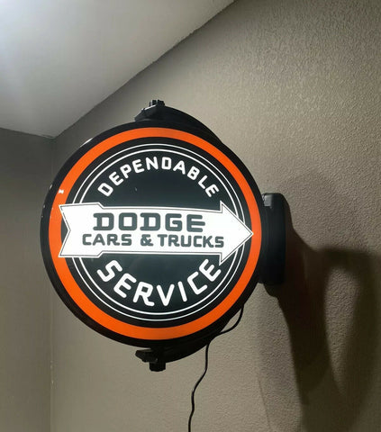 Image of Dodge Cars & Trucks Dependable Service Sign - Light Up Revolving Globe-Live Fast Supply Company