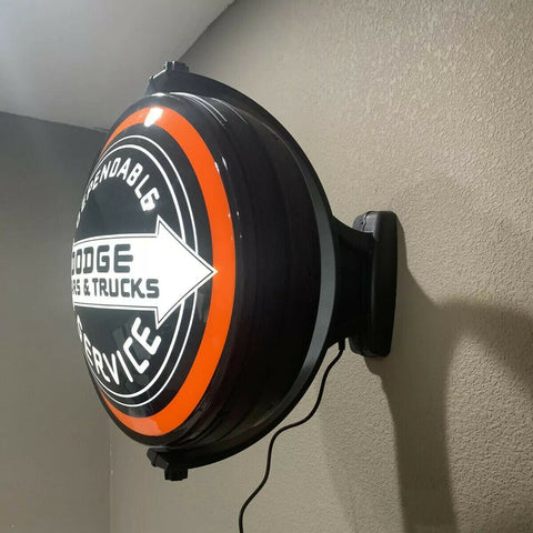 Dodge Cars & Trucks Dependable Service Sign - Light Up Revolving Globe-Live Fast Supply Company