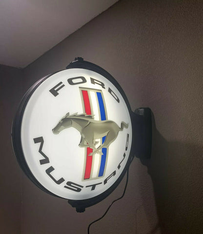 Image of Ford Mustang Tri Bar Emblem Sign - Light Up Revolving Globe-Live Fast Supply Company