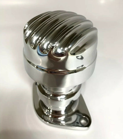 Finned Aluminum Polished Round Flathead Rear Breather