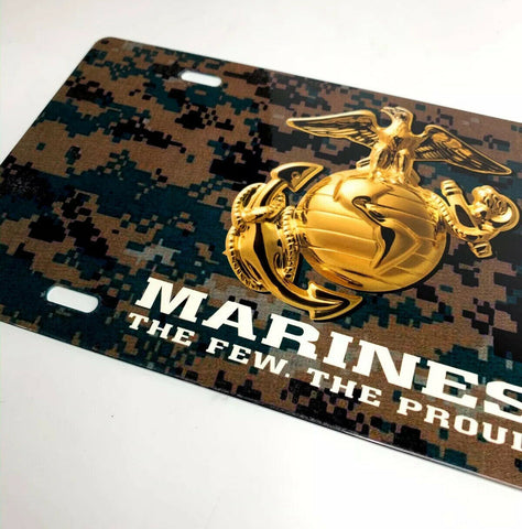Image of U.S. Marine Corps Vanity Steel License Plate - Green Digital Camo-Live Fast Supply Company