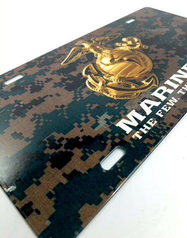 U.S. Marine Corps Vanity Steel License Plate - Green Digital Camo-Live Fast Supply Company