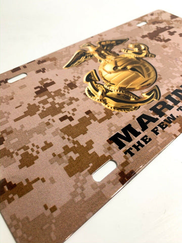 Image of U.S. Marine Corps Steel Vanity License Plate - Tan Digital Camo-Live Fast Supply Company