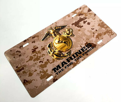 U.S. Marine Corps Steel Vanity License Plate - Tan Digital Camo-Live Fast Supply Company