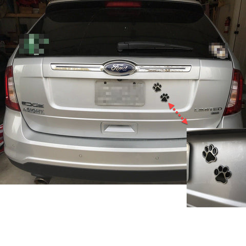 Image of Pair of Dog Paw Print Car Decals - Chrome with Black ABS Design - Mounted