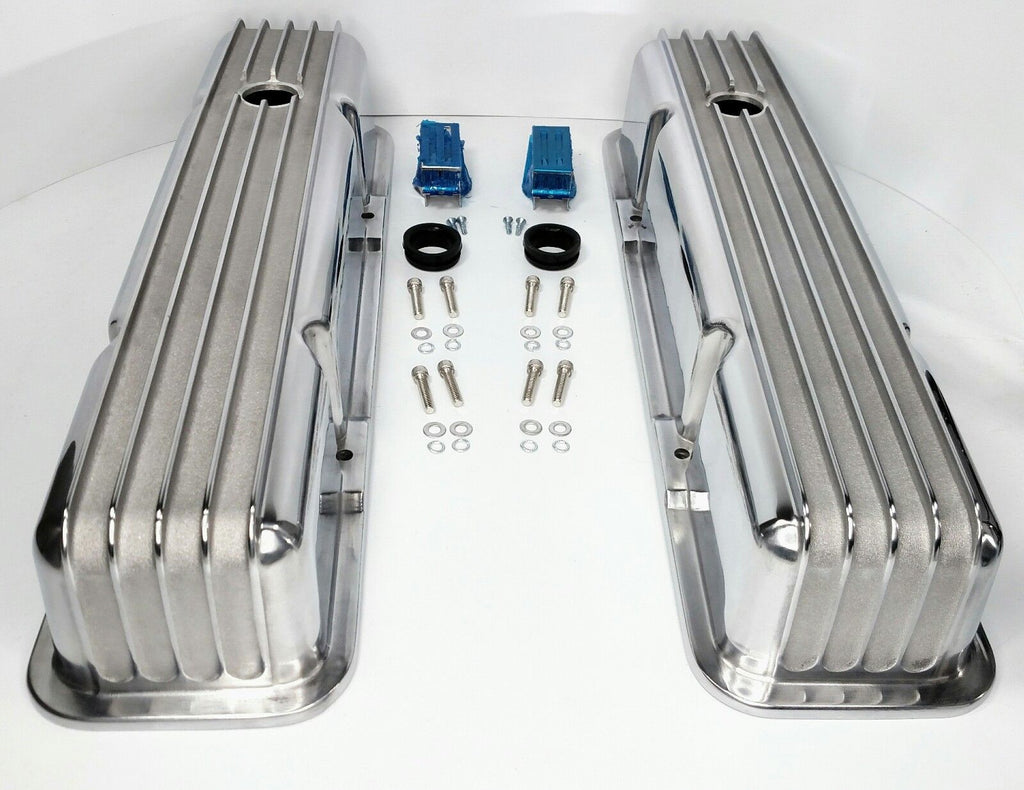 Tall Finned Aluminum Valve Covers for Small Block Chevy 350 - Perimeter Bolt - Main