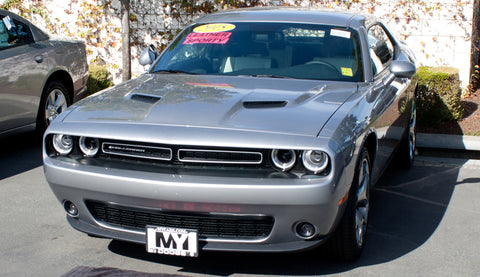 Image of Removable License Plate Bracket for 2015-2018 Dodge Challenger (with Adaptive Cruise) - Installed 2