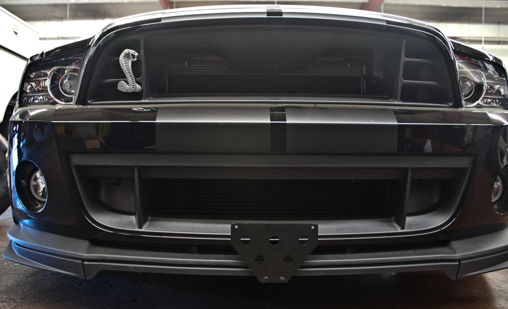Removable, No Drill License Plate Bracket for 2013-2014 Ford Mustang Shelby GT500 (with 2nd chin splitter) - Installed 2