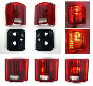 Pair Sequential LED Tail Lights w/ Trim For 1973-1987 Chevrolet & GMC Pickup Truck