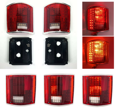 Pair Sequential LED Tail Lights w/ Trim For 1973-1987 Chevrolet & GMC Pickup Truck-Live Fast Supply Company
