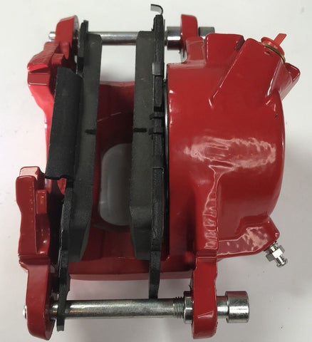 Image of Pair of GM Front Single Piston Brake Calipers with Pads - Red Powder Coated - Back