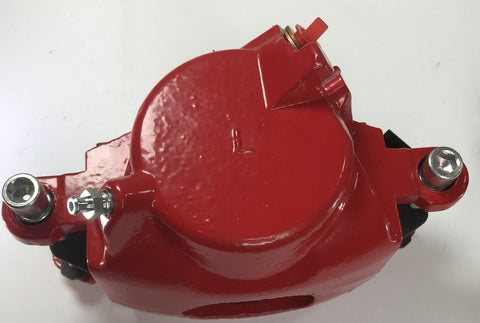 Image of Pair of GM Front Single Piston Brake Calipers with Pads - Red Powder Coated - Side 3