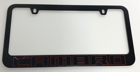 Chevrolet Camaro License Plate Frame - Black with Red (Front)