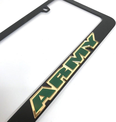 Army License Plate Frame - Black with Green Letters (Side)