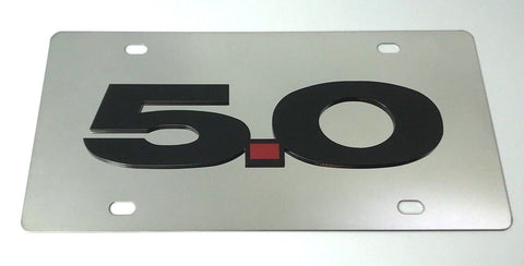 Image of Ford Mustang 5.0 License Plate - Chrome with Black Script (Main)