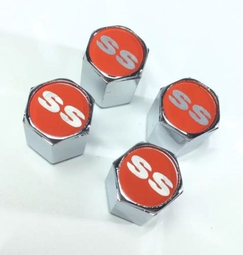 Chevy Super Sport Valve Stem Caps - Red with Silver (Set of 4) - Side