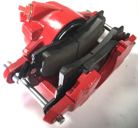 Image of Pair of GM Front Single Piston Brake Calipers with Pads - Red Powder Coated - Bottom